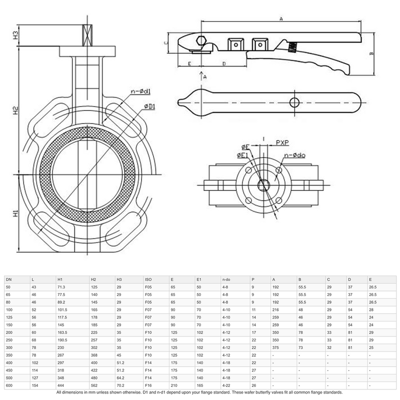 "Dimensions - GO Butterfly Valve Manual CI Body 316 SS Disc EPDM Liner 2"" to 24"" BFD Range"