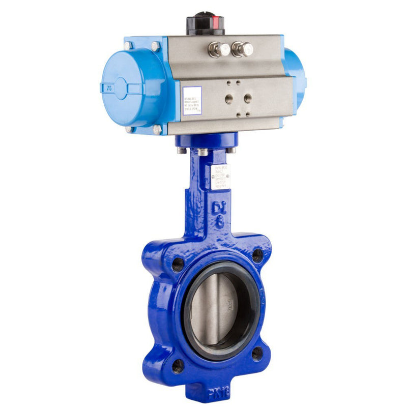 "GO Butterfly Valve Actuated Double Acting Pneumatic Lugged CI Body 316 SS Disc EPDM Liner 2"" to 24"" BFLDA Range"