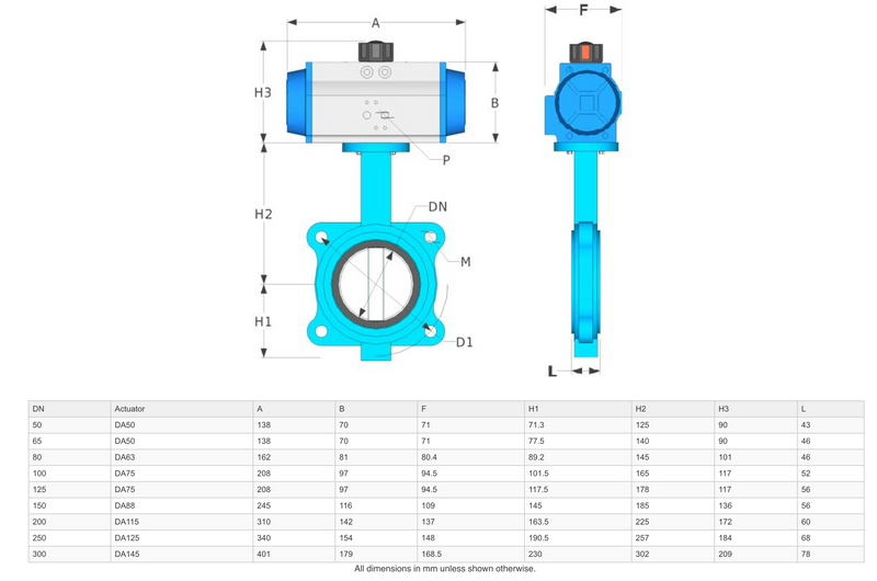 "Dimensions - GO Butterfly Valve Actuated Double Acting Pneumatic Lugged CI Body 316 SS Disc EPDM Liner 2"" to 24"" BFLDA Range"