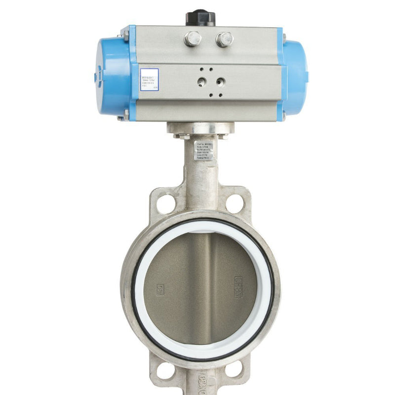 "GO Butterfly Valve Actuated Double Acting Pneumatic 316 SS Body PTFE Coated 316 SS Disc PTFE Coated EPDM Liner 2"" to 12"" BFS Range"