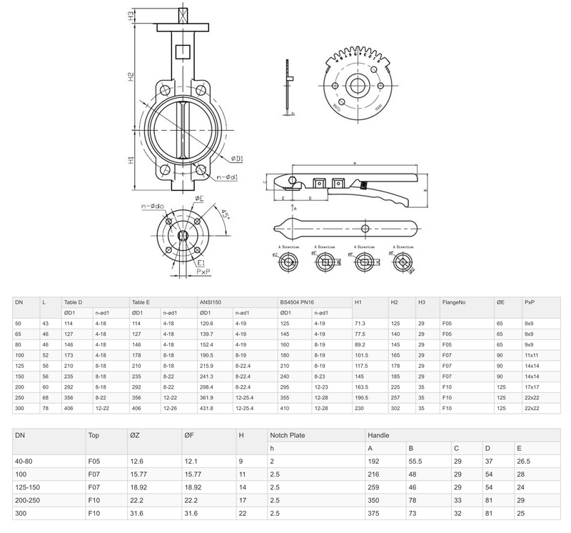 "Dimensions - GO Butterfly Valve Manual 316 SS Body PTFE Coated 316 SS Disc PTFE Coated EPDM Liner 2"" to 12"" BFS Range"