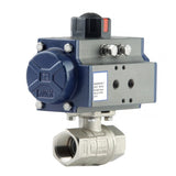 "GO Ball Valve Actuated Double Acting Pneumatic Nickel Plated Brass  1/2"" to 2"" BLBDA Range"