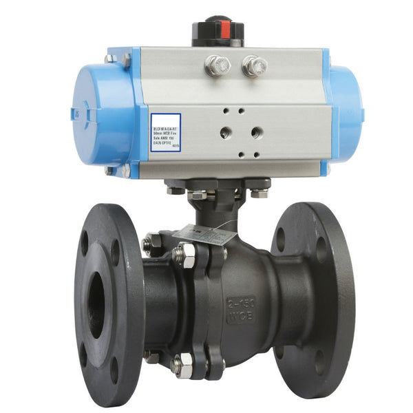 "GO Cast Steel Ball Valve Actuated Spring Return Pneumatic Flanged ANSI 150# Full Bore Fire Safe 1/2"" to 10"" Range"