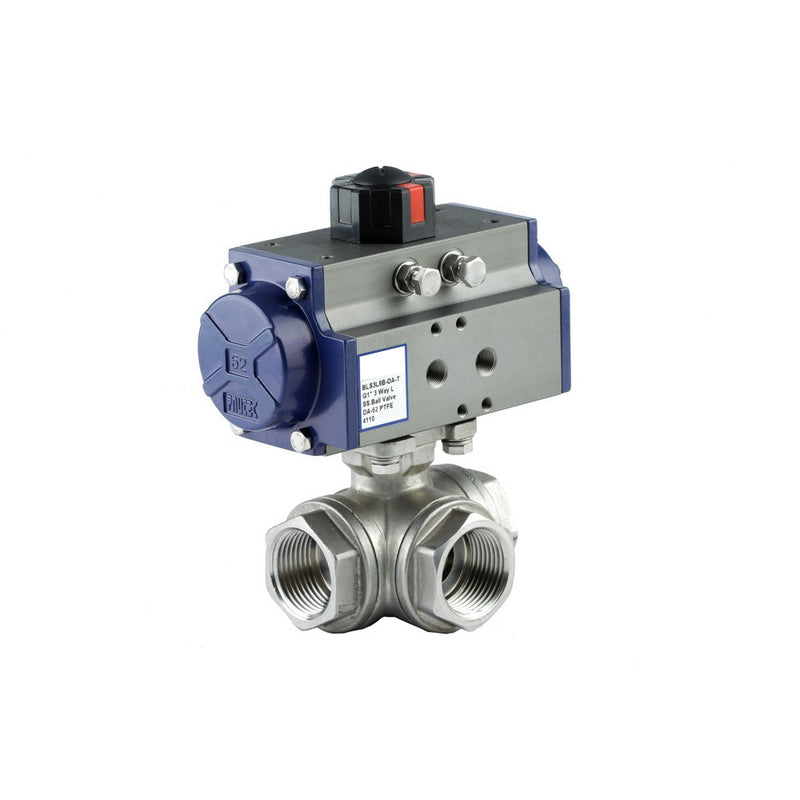 "GO Ball Valve Actuated Double Acting Pneumatic 316 Stainless 3 Way 1/4"" to 3"" BLS3DA Range"