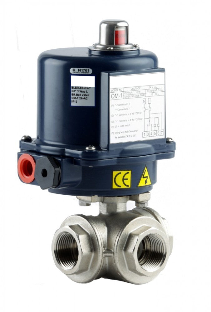 "GO Ball Valve Actuated Electric 316 Stainless 3 Way 1/4"" to 3"" BLS3E Range"