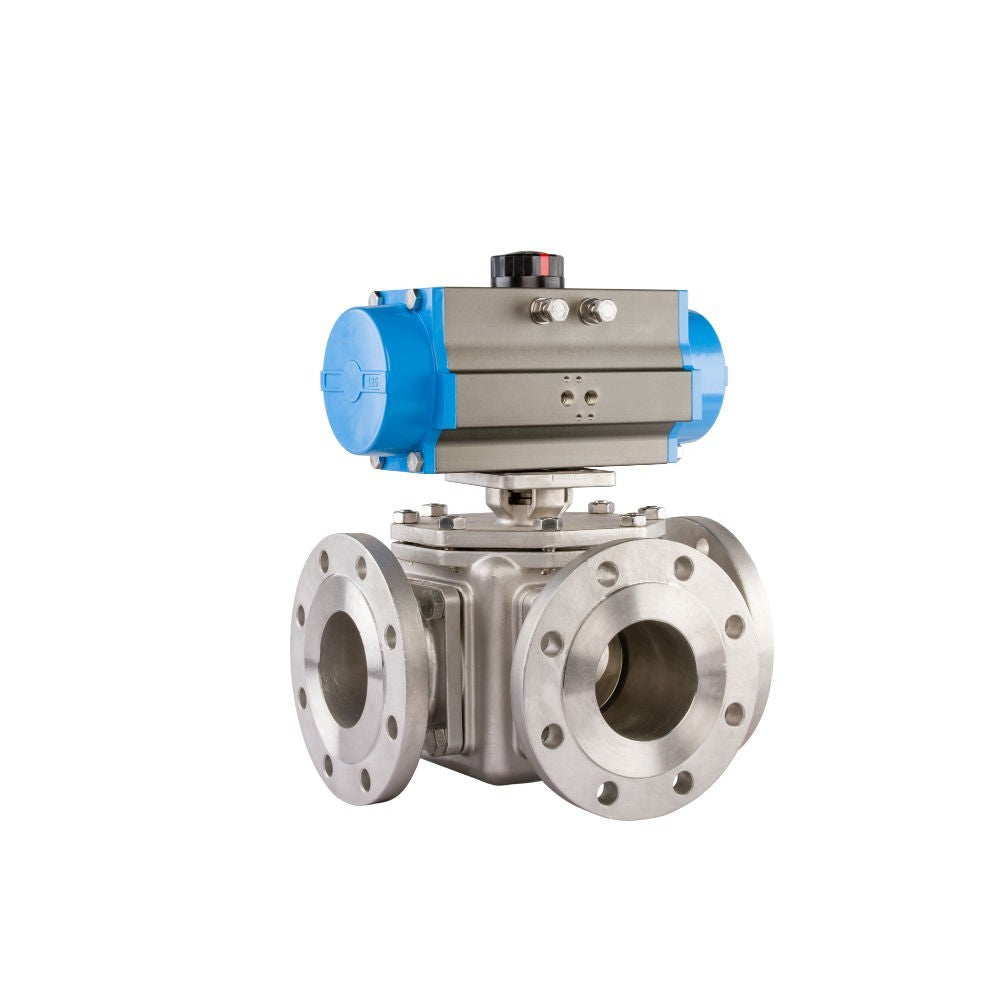 """GO Ball Valve Actuated Spring Return Pneumatic Flanged ANSI 150# 3 Way 1/2"""" to 4"""" BLS3FASR Range"""