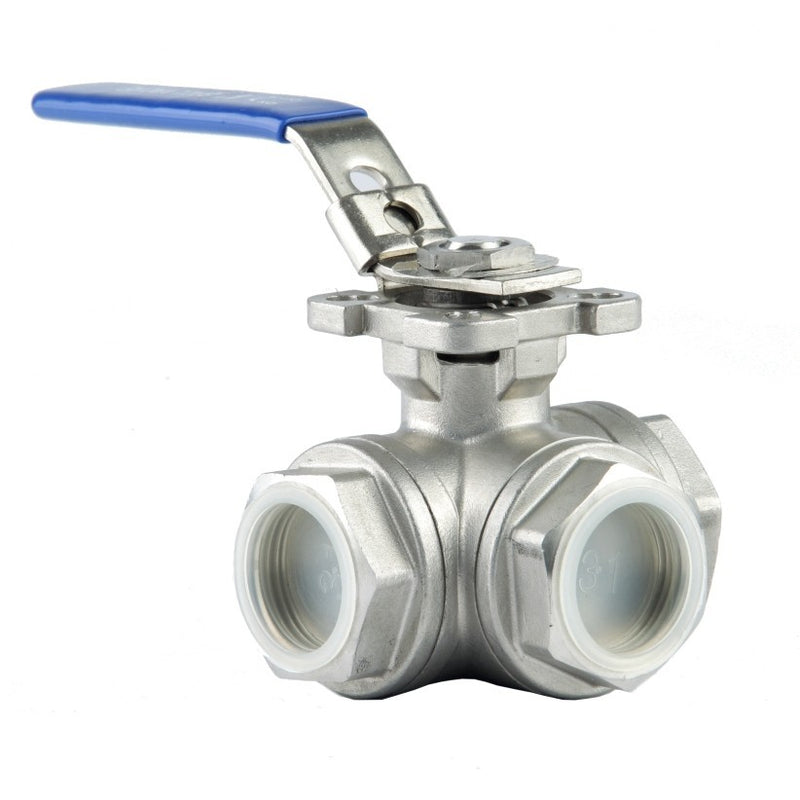 "GO Ball Valve 316 Stainless 3 Way 1/4"" to 3"" BLS3 Range"