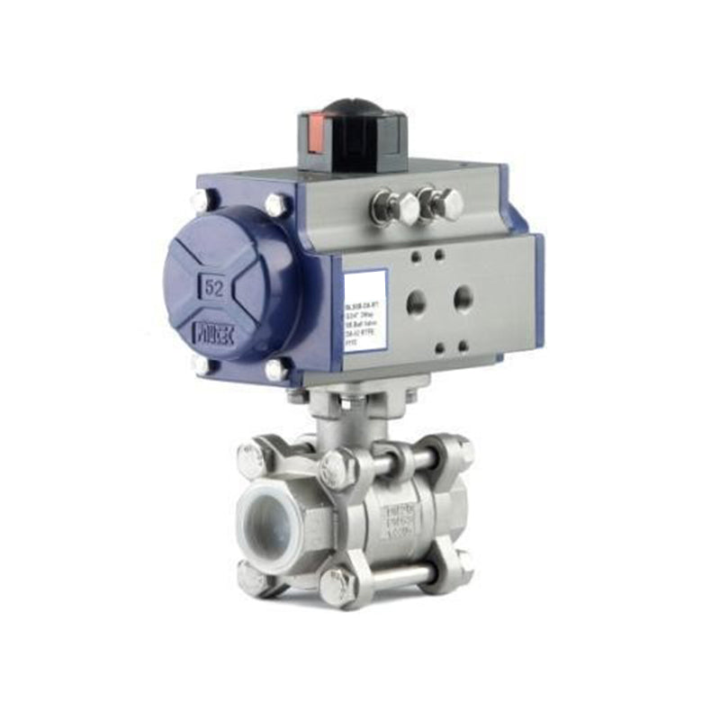 "GO Ball Valve V Port Actuated Double Acting Pneumatic 316 Stainless 3 Piece Full Bore 1/2"" to 4"" BLVDA Range"