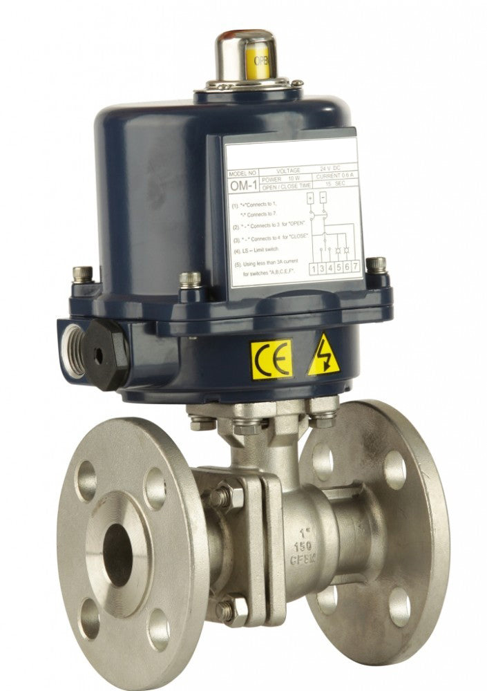 "GO 316 SS BLSFE Ball Valve Actuated Electric Flanged ANSI 150# Full Bore Fire Safe 1/2"" to 10"" Range"