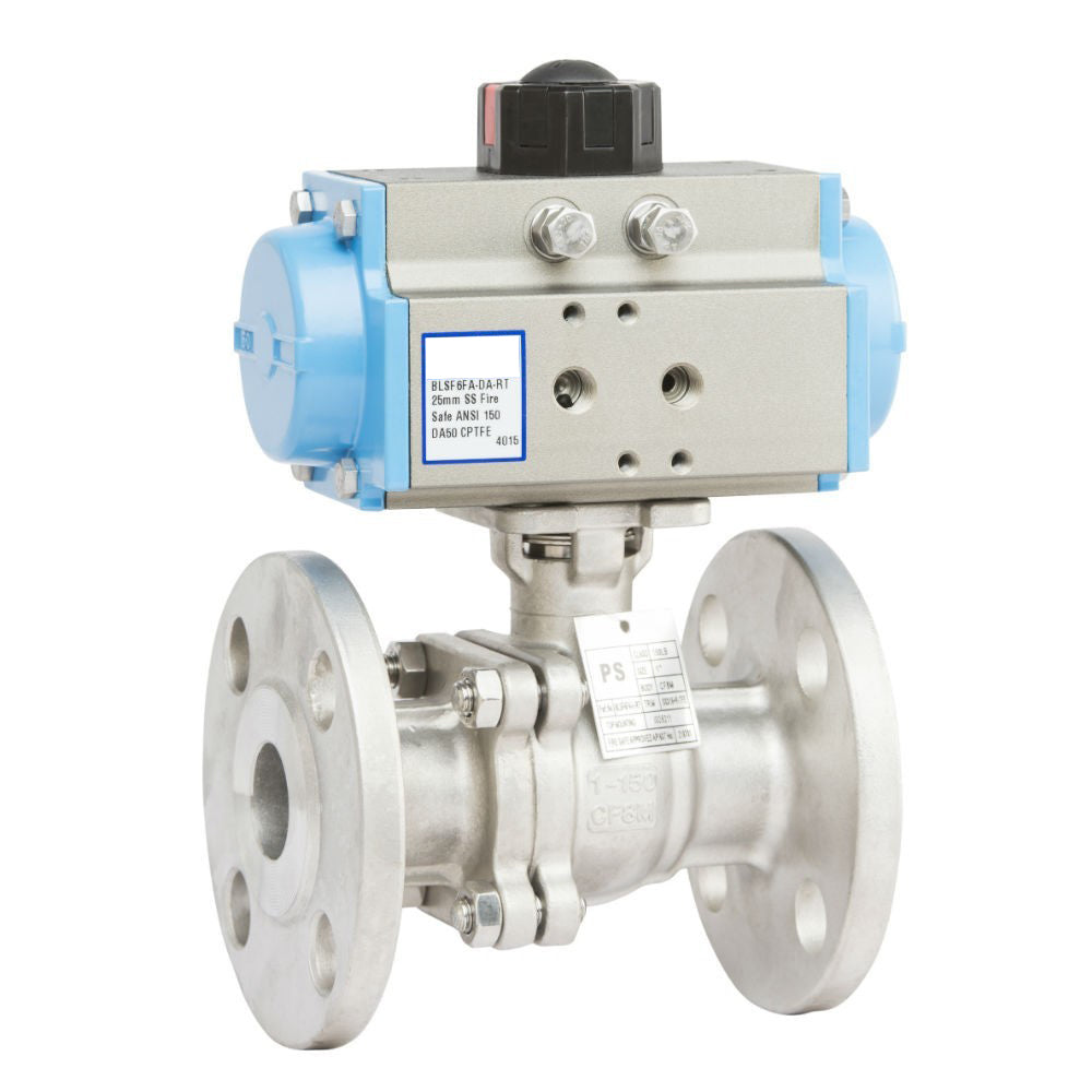 "GO 316 SS Ball Valve Actuated Spring Return Pneumatic Flanged ANSI 150# Full Bore Fire Safe 1/2"" to 10"" Range"