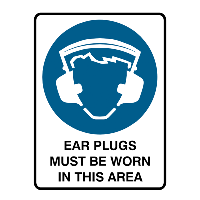 Brady Mandatory Sign Ear Plugs Must Be Worn In This Area