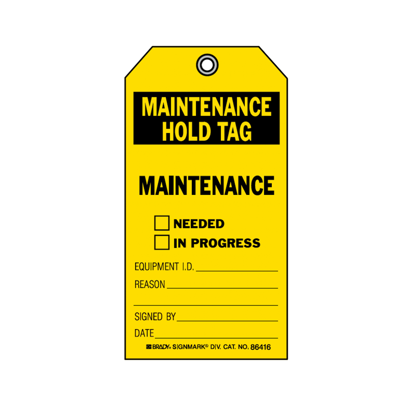 Brady Accident Prevention Tag Maintenance Hold 86535