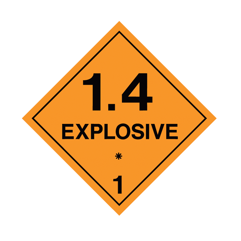 Brady Dangerous Goods Sign / Placard - Class 1 Explosive 1.4