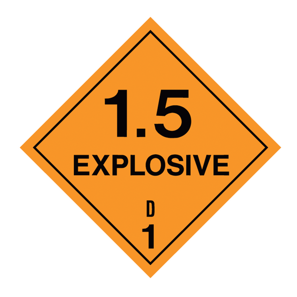 Brady Dangerous Goods Sign / Placard - Class 1 Explosive 1.5