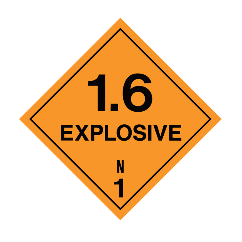 Brady Dangerous Goods Sign / Placard - Class 1 Explosive 1.6