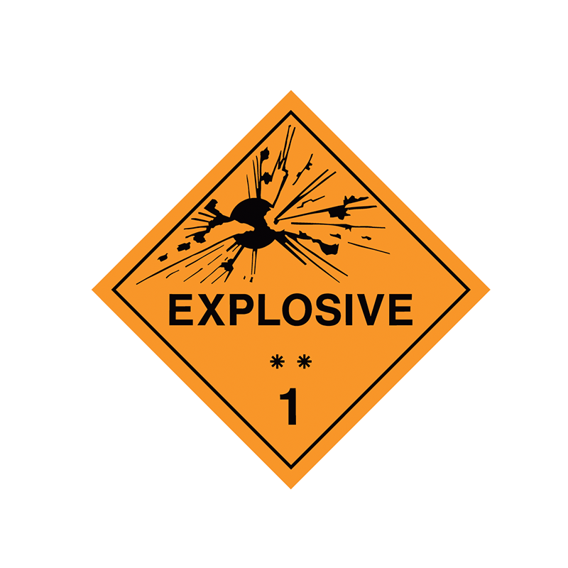 Brady Dangerous Goods Sign / Placard - Class 1 Explosive ** 1