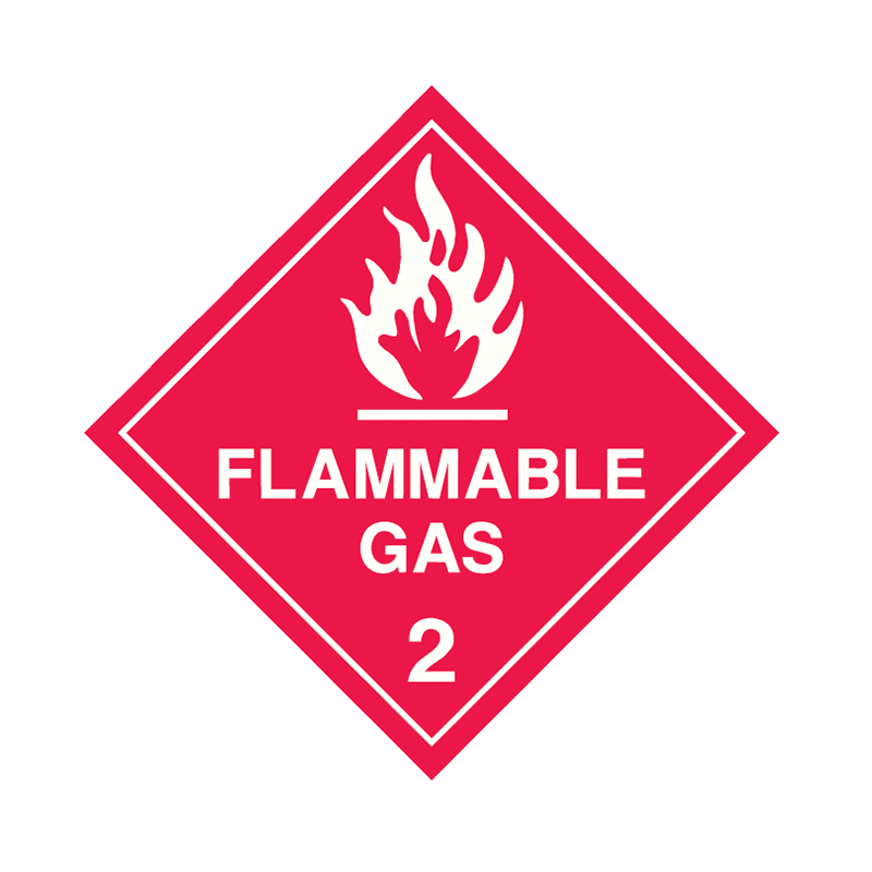 Brady Dangerous Goods Sign / Placard - Class 2 Flammable Gas 2 (White)