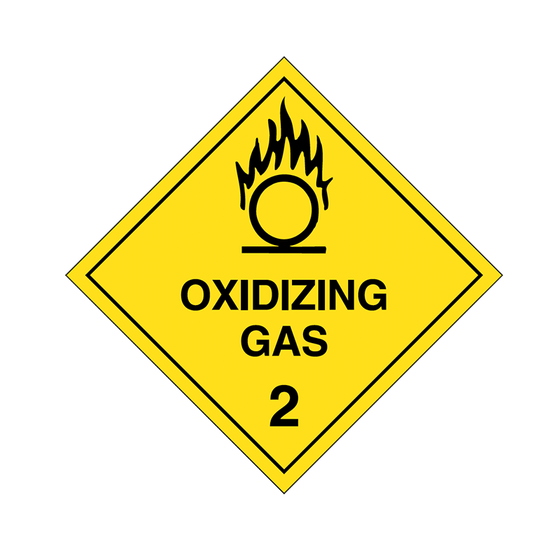 Brady Dangerous Goods Sign / Placard - Class 2 Oxidising Gas 2