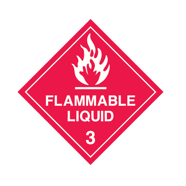Brady Dangerous Goods Sign / Placard - Class 3 Flammable Liquid 3 (white)