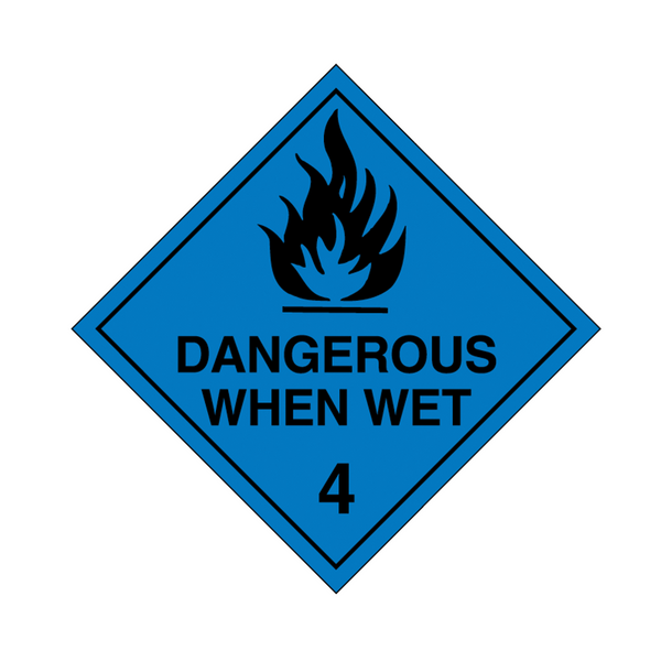 Brady Dangerous Goods Sign / Placard - Class 4 Dangerous When Wet 4 (black)