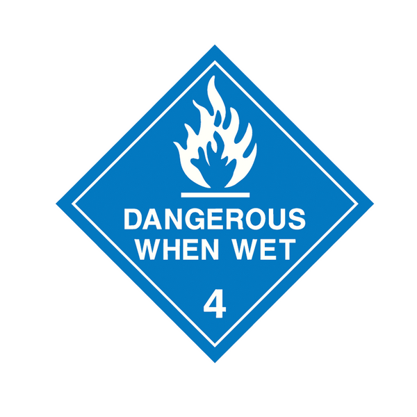Brady Dangerous Goods Sign / Placard - Class 4 Dangerous When Wet 4 (white)