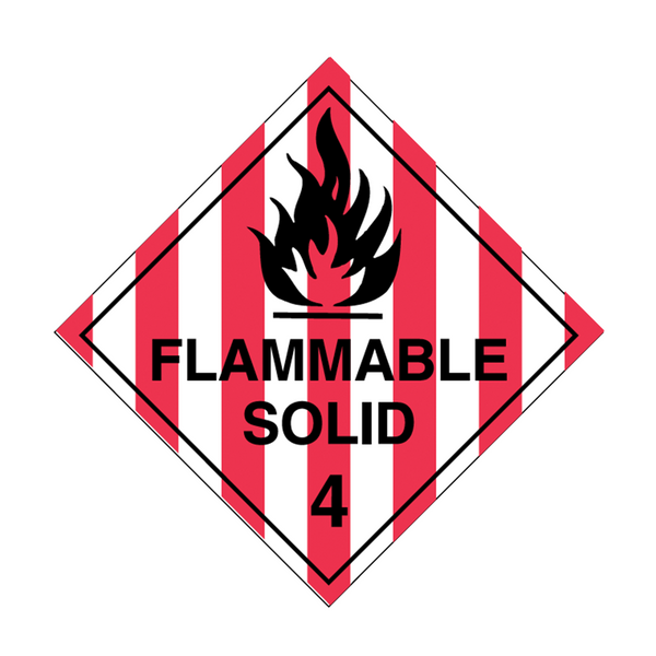 Brady Dangerous Goods Sign / Placard - Class 4 Flammable Solid 4