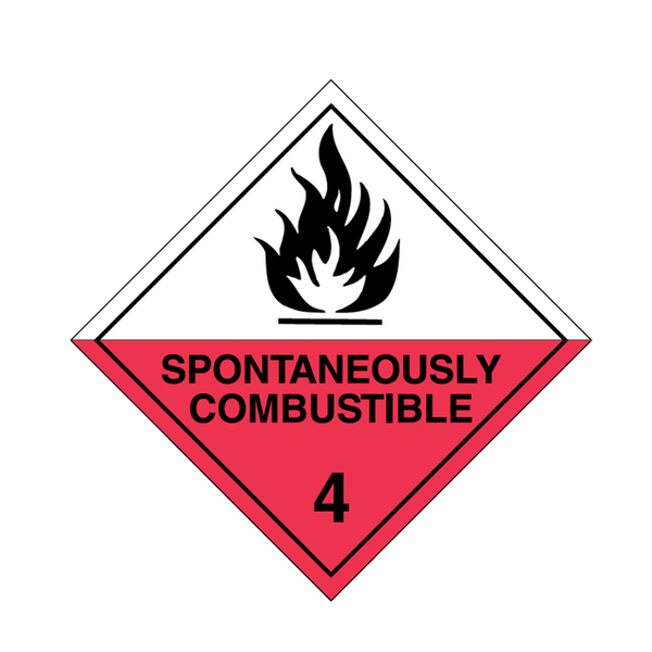 Brady Dangerous Goods Sign / Placard - Class 4 Spontaneously Combustible 4