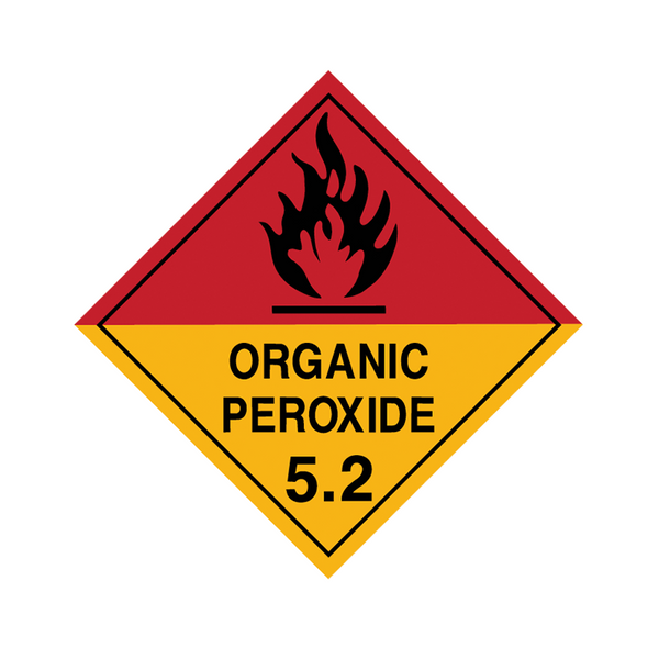 Brady Dangerous Goods Sign / Placard - Class 5 Organic Peroxide 5.2 (black)