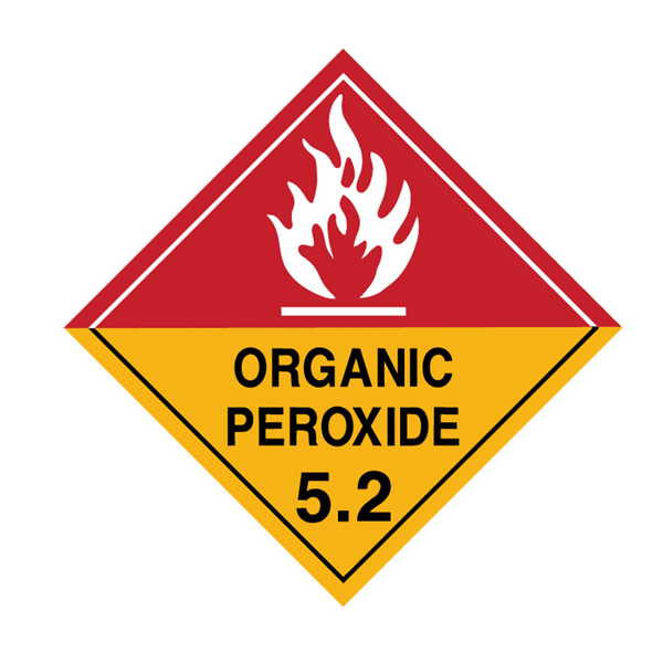 Brady Dangerous Goods Sign / Placard - Class 5 Organic Peroxide 5.2 (white)