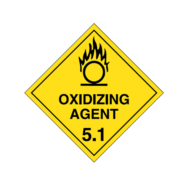 Brady Dangerous Goods Sign / Placard - Class 5 Oxidizing Agent 5.1