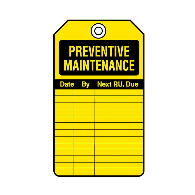 Brady Equipment Servicing Tag Preventative Maintenance 847337