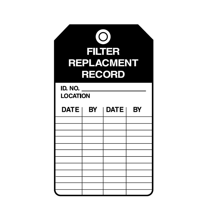 Brady Equipment Servicing Tag Filter Replacement Record 847343