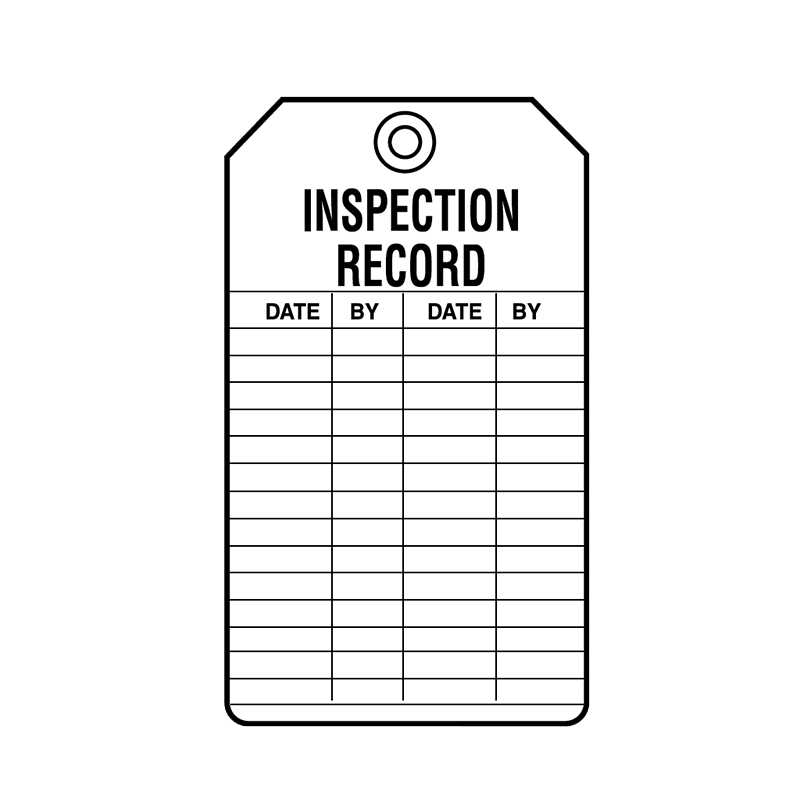 Brady Equipment Servicing Tag Inspection Record 847332