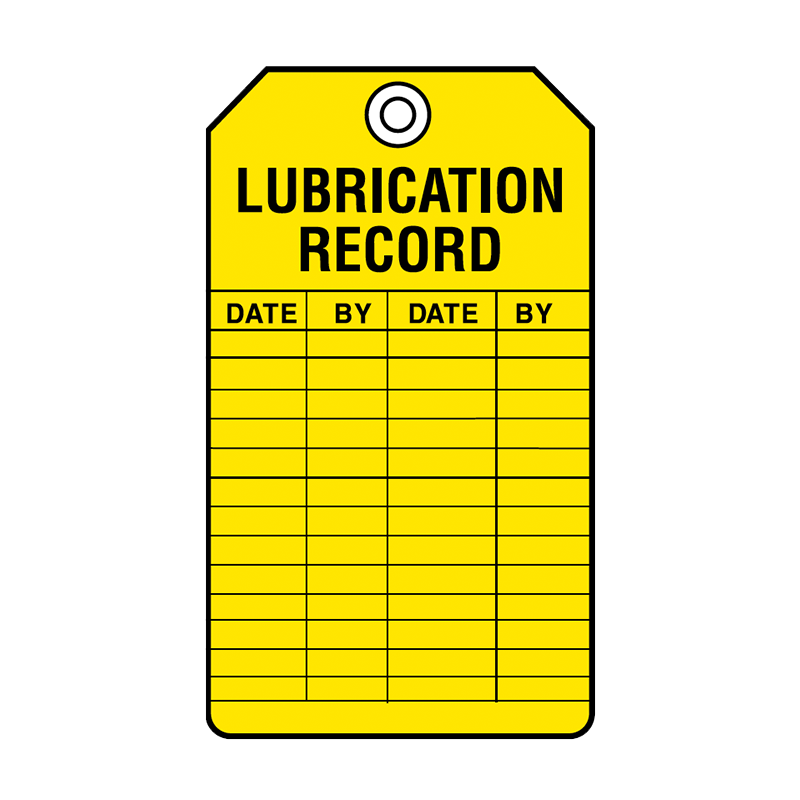Brady Equipment Servicing Tag Lubrication Record 847323