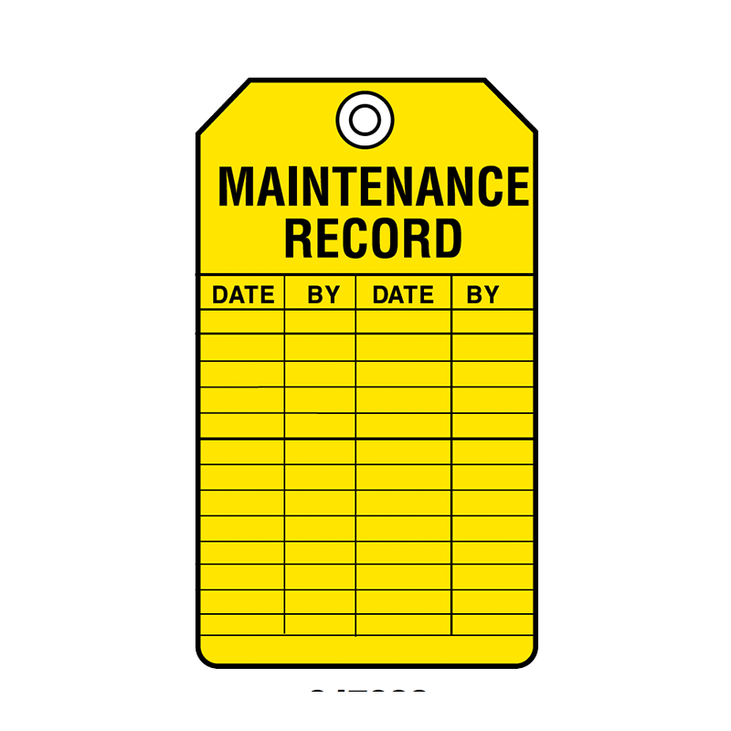 Brady Equipment Servicing Tag Maintenance Record 847322