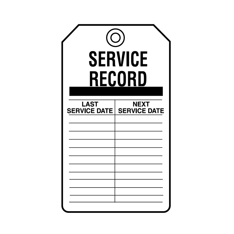 Brady Equipment Servicing Tag Service Record 847334