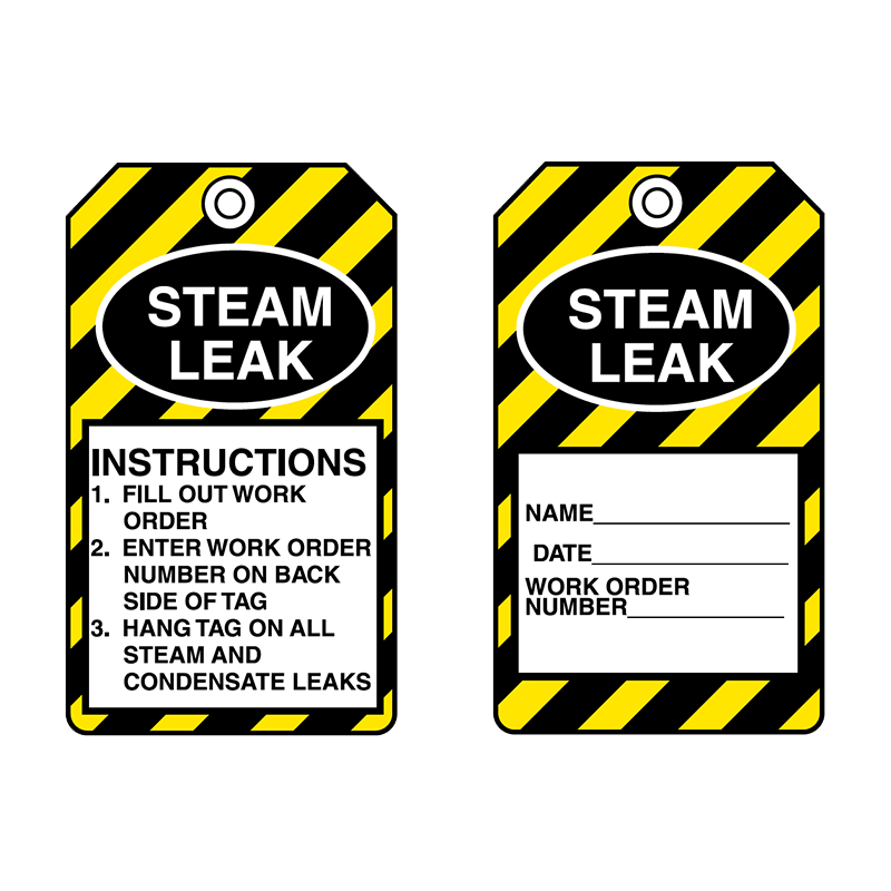 Brady Equipment Servicing Tag Steam Leak 847324