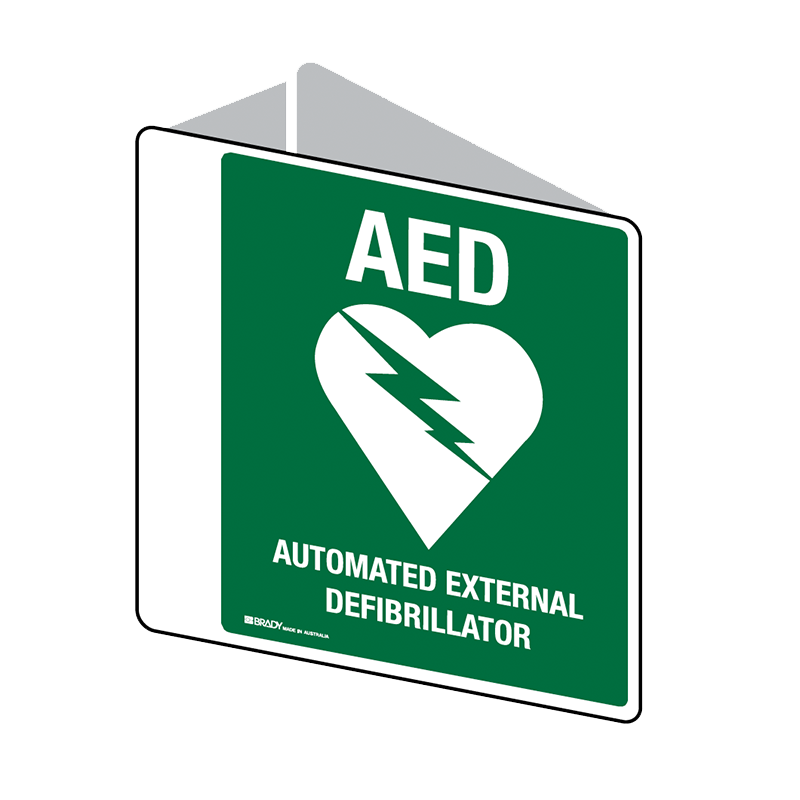 Brady First Aid Sign 2 Way AED