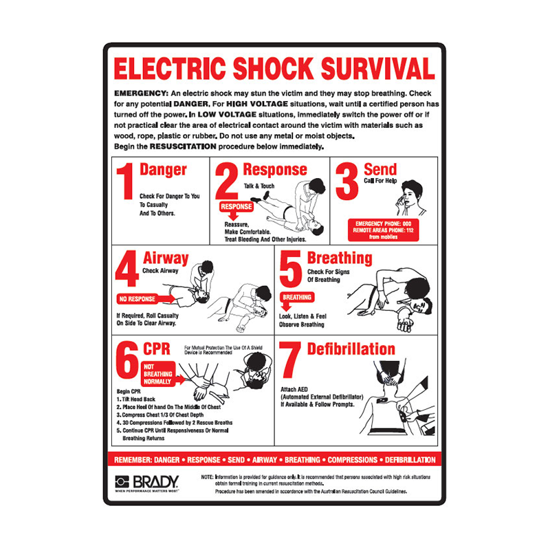 Brady First Aid Sign Electrical Shock Survival Sign