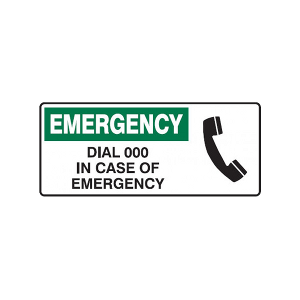 Brady First Aid Sign Emergency Dial 000 in Case of Emergency
