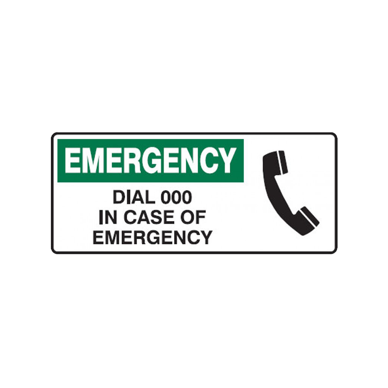 Brady First Aid Sign Emergency Dial 000 In Case Of