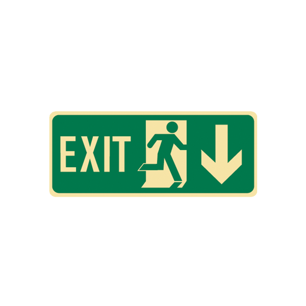 Brady Glow in the Dark and Standard Floor Exit Symbol Down Arrow