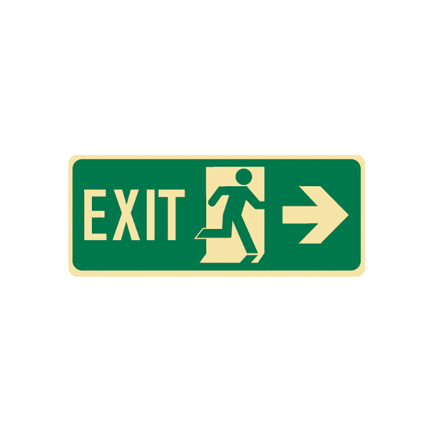 Brady Glow in the Dark and Standard Floor Exit Symbol Right Arrow
