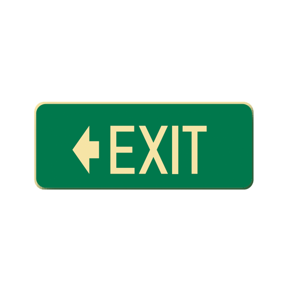 Brady Glow in the Dark and Standard Floor Sign Exit with Left Pointing Arrow