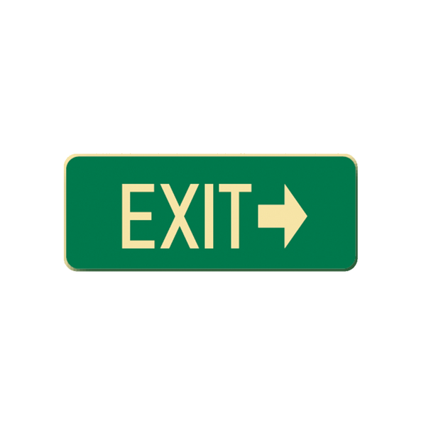Brady Glow in the Dark and Standard Floor Sign Exit with Right Pointing Arrow