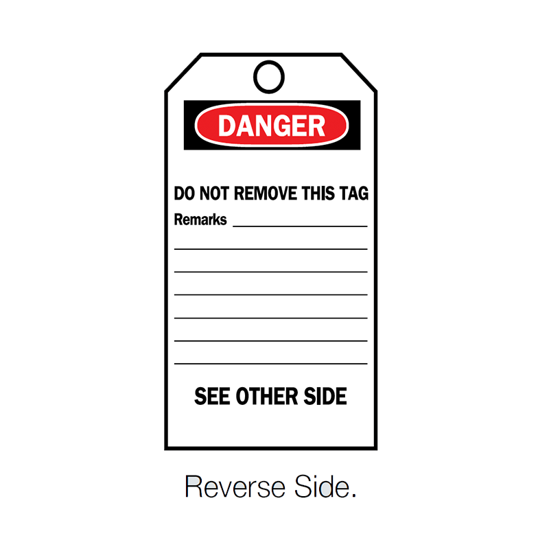 Brady Lockout Accident Prevention Tag Reverse Side