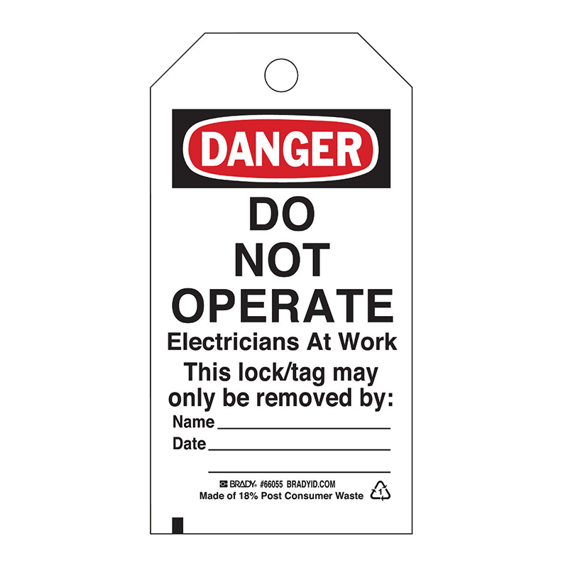 Brady Lockout Tag - Do Not Operate Electricians at Work