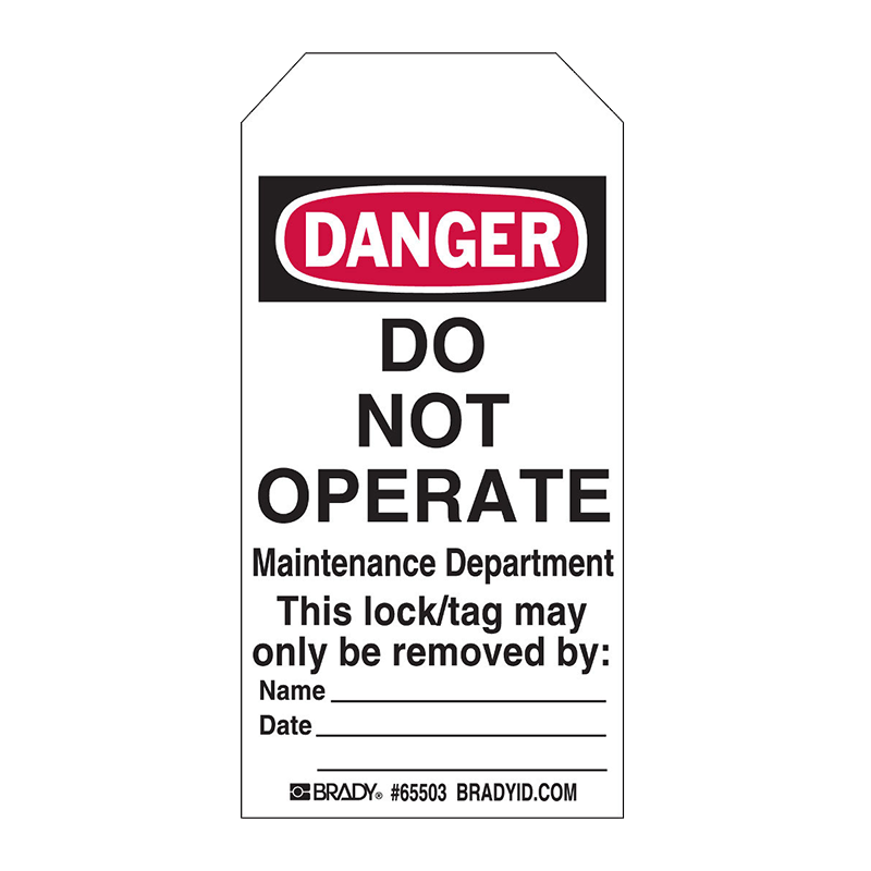 Brady Lockout Tag - Do Not Operate Maintenance Department