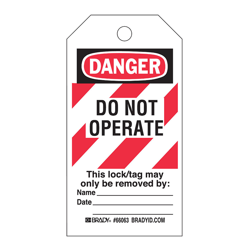 Brady Lockout Tag - Do Not Operate Red Hatching