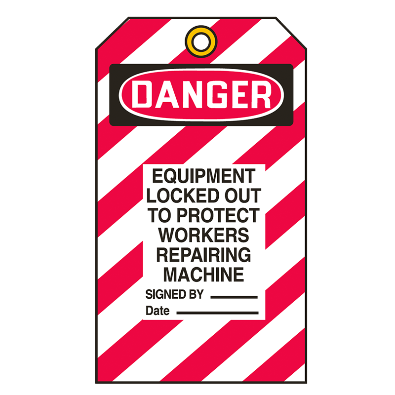 Brady Lockout Tag 849130 Danger Equipment Locked Out to Protect Workers Repairing Machine